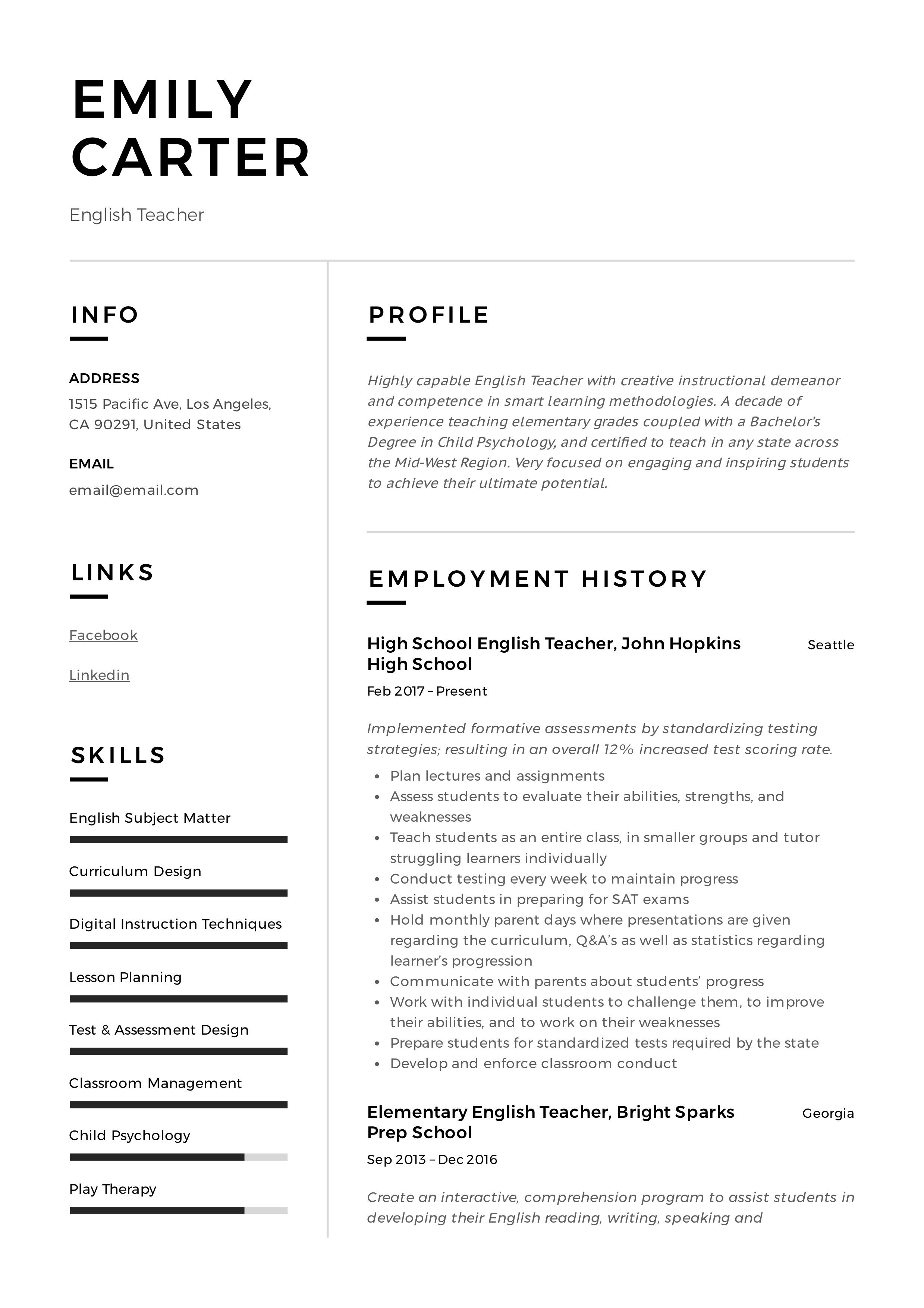Professional English School Teacher Resume, template