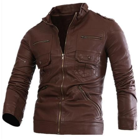 Russian Style Fashion Mens Zipper Leather Jacket For Men New Slim Fit  Motorcycle Avirex Leather Jackets