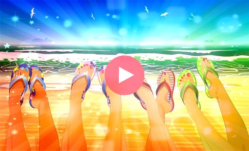 legs in colored flip flops Against the sunny beach Female legs in colored flip flops Against the sunny beach  Diving cat branding design illustration logo diving catlogo...
