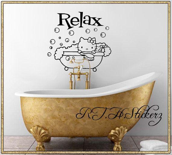 HELLO KITTY Bubble Bath RELAX Self Stick Vinyl Wall Art Bathroom - Vinyl vinyl wall decals bubbles