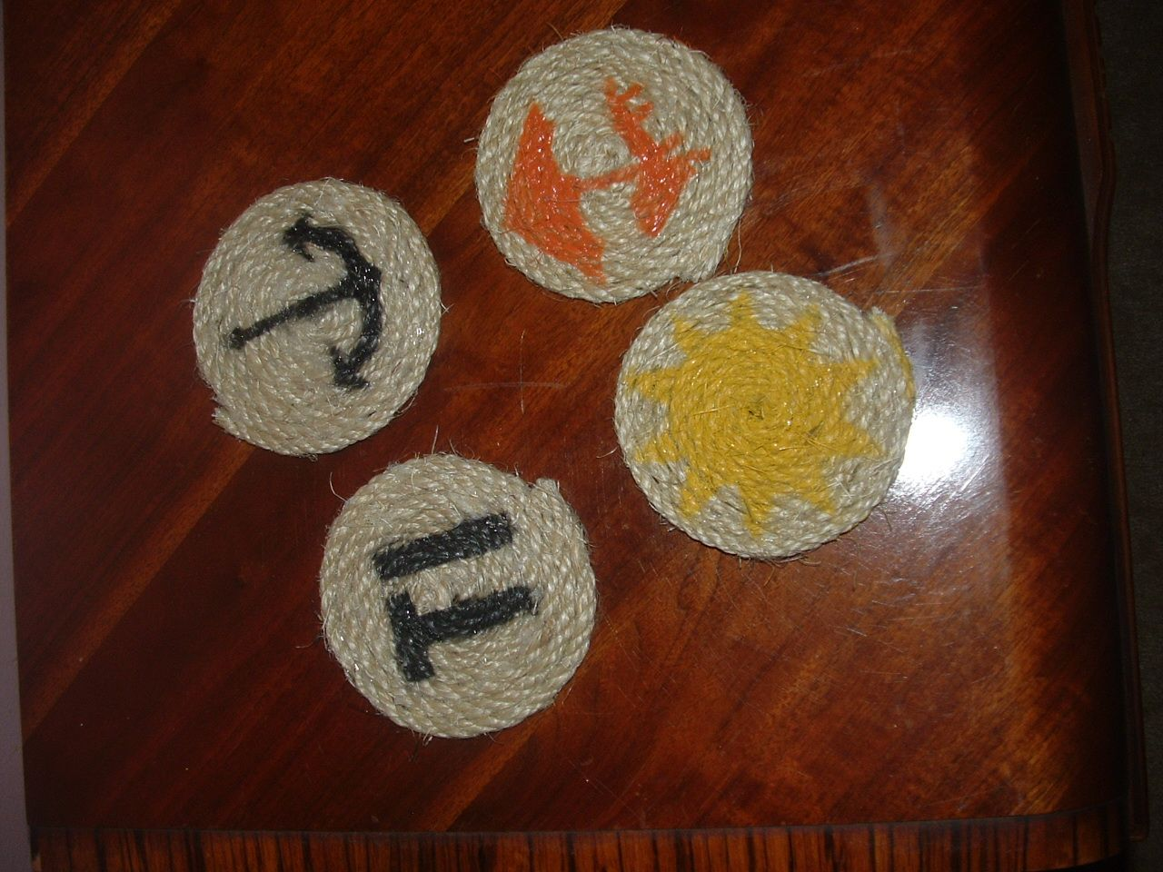 Sisal rope coasters! These are beach themed, but I can do anything (as long as I can draw it, or there is a pre-cut template for it!) Set of 4 - $3