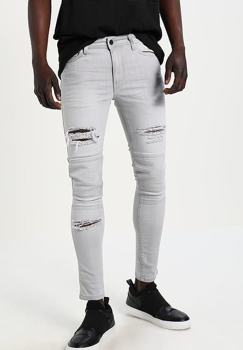 Yourturn Jeansy Slim Fit Grey Denim Zalando Pl Grey Denim Slim Fit Clothes
