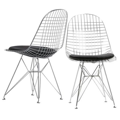 midcentury design store wire chair with black cushion (set of 2