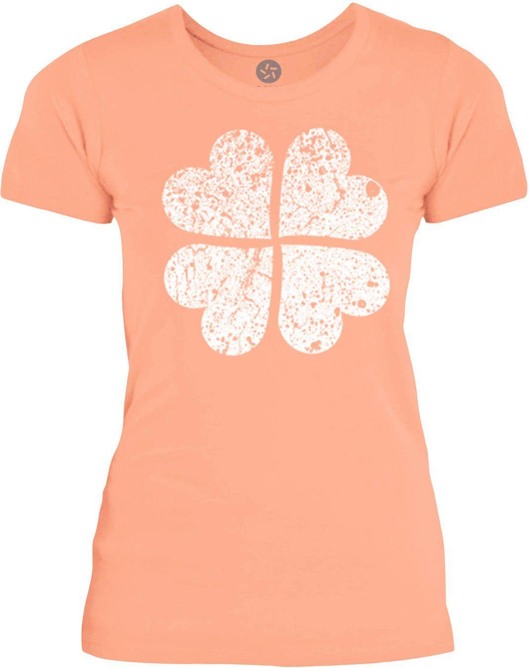 Big Texas Distressed Clover Heart (White) Womens Fine Jersey T-Shirt