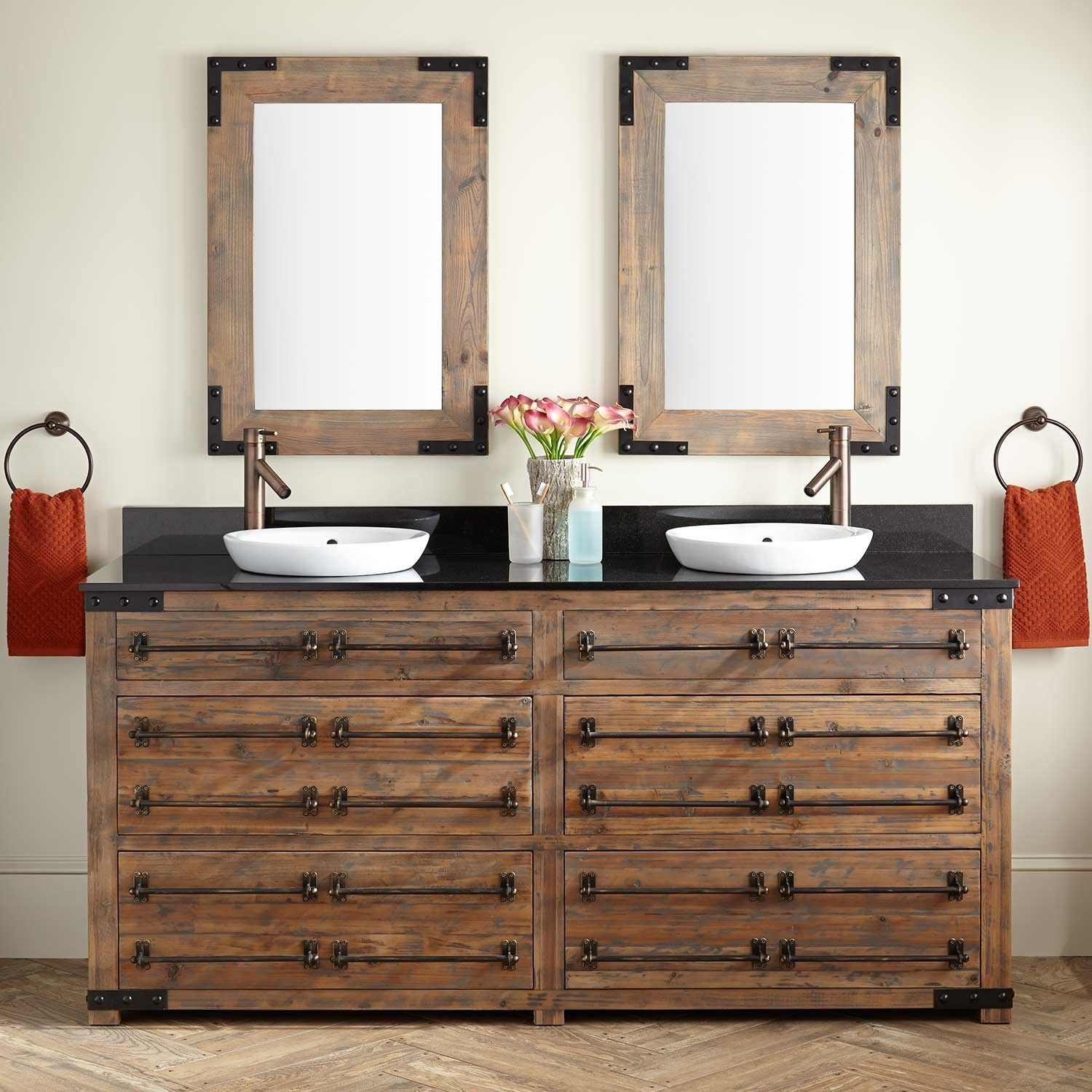 72 Bonner Reclaimed Wood Double Vanity For Semi Recessed Sink Gray Wash Pine Vanities Bathroom