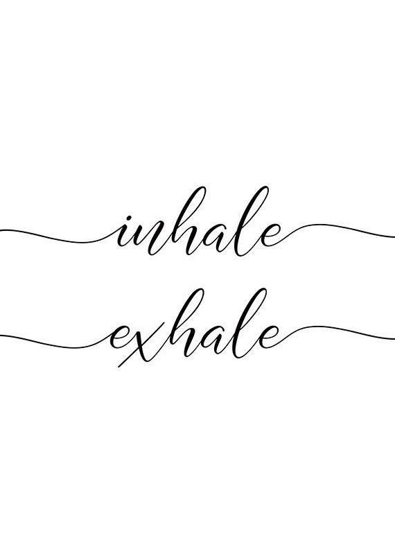 Inhale exhale print, breathe print, yoga print, meditation, black and white, just breathe, yoga studio decor, yoga gift, yoga quote, zen art