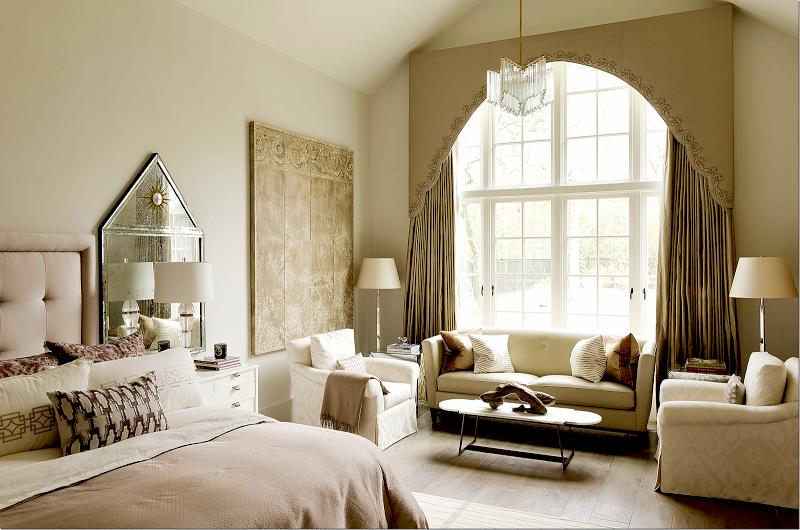 Bedroom window treatment by Julie Dodson found on Cote de Texas blog