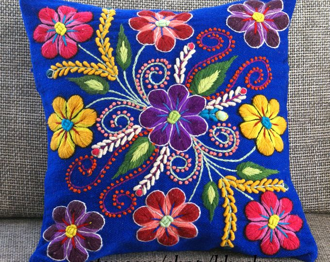 Cubierta De Lana Bordado Floral Flores