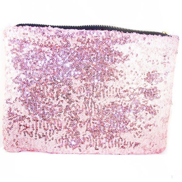 Clutch de lentejuelas rosa.  11,25 €