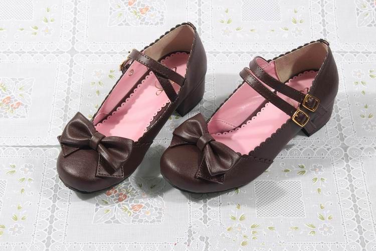 Princess Bow Black 3cm Low Heel Sweet Lolita Shoes | Know more >> c