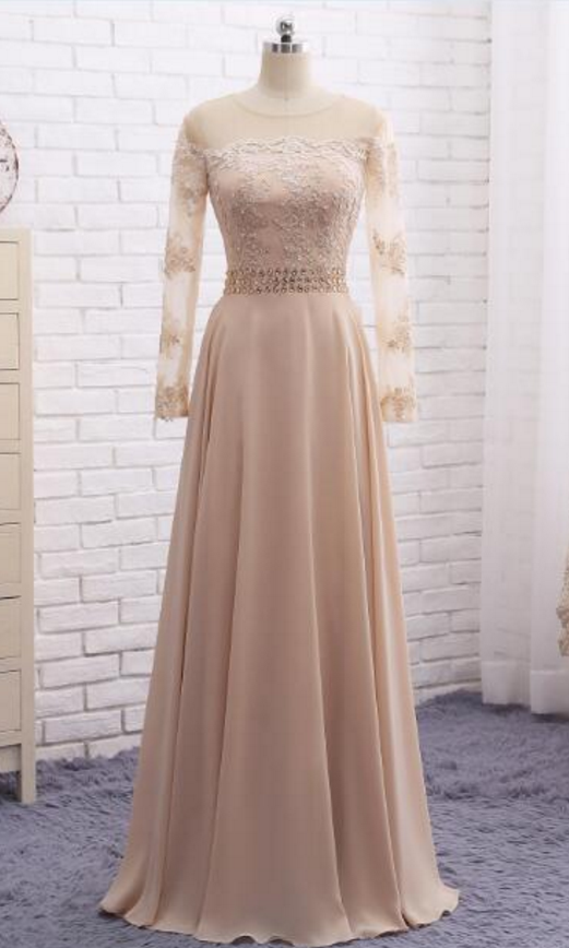 Long sleeve champagne party dress evening dresses | Best Dresses to ...