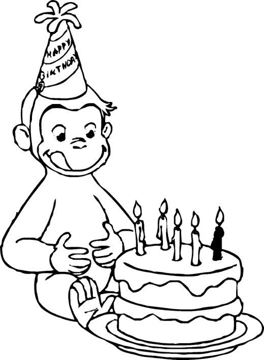 Curious George Birthday Coloring Pages Picture Parties Pinterest