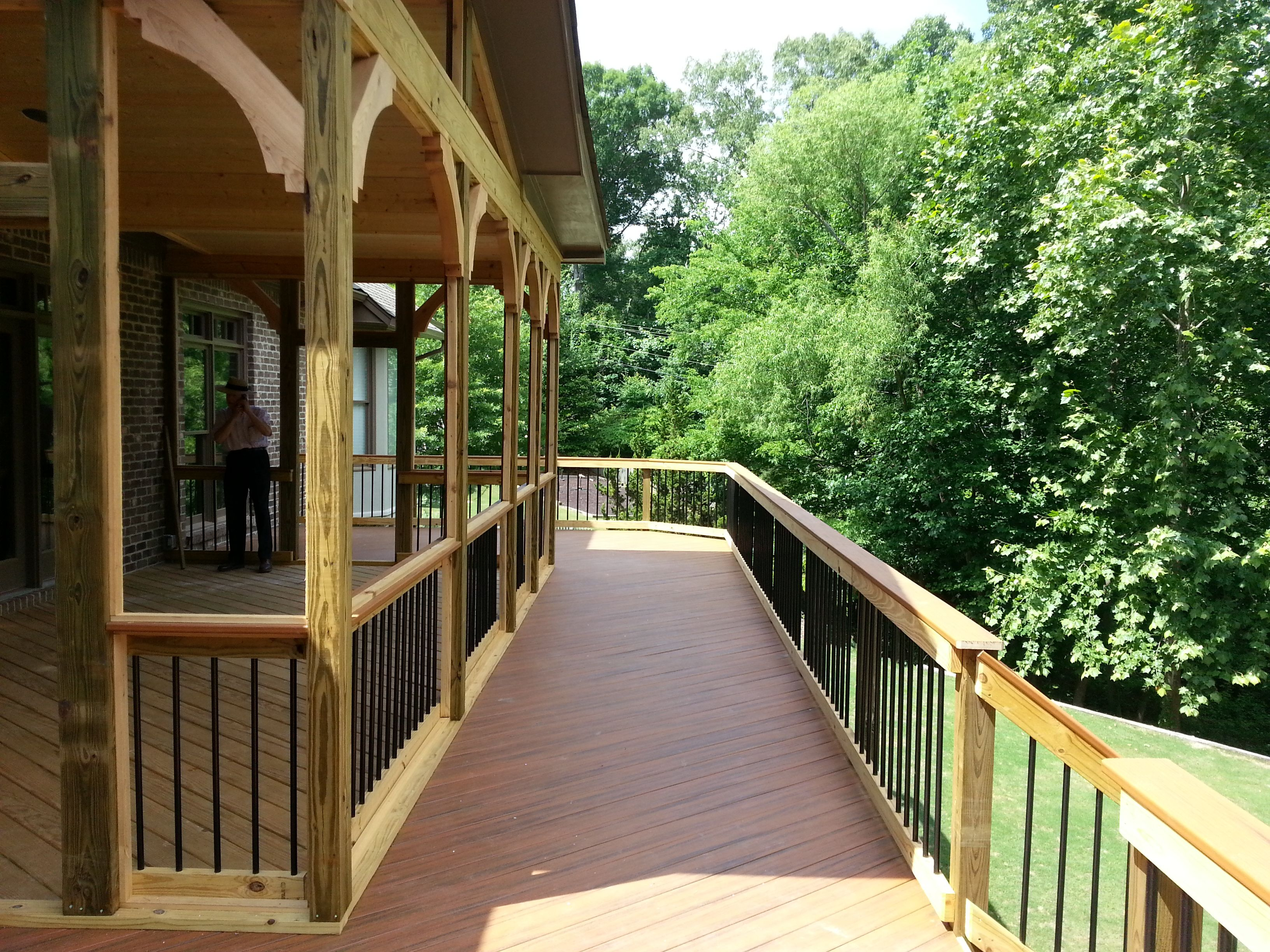 Pressure Treated Porch With Composite Balcony Design Ideas