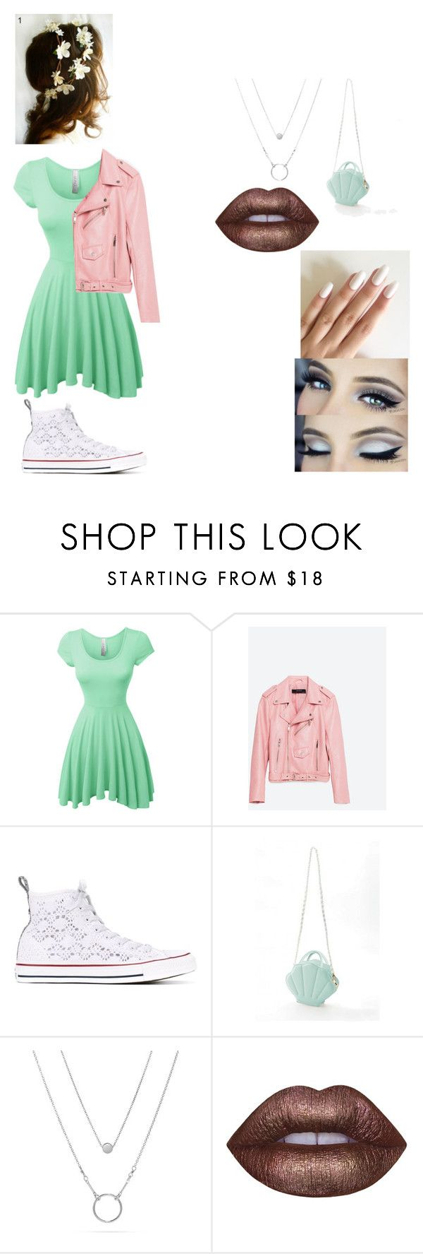 """My first one..."" by hooverava ❤ liked on Polyvore featuring LE3NO, Piel Leather, Converse and Lime Crime"