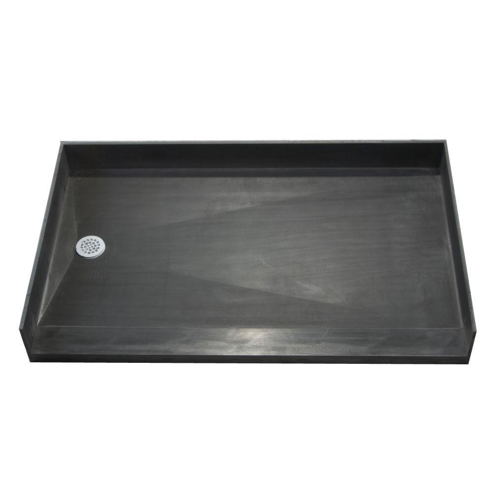 Tile Ready Shower Pan 30 X 54 Left Barrier Free PVC Drain (Shower Pan Black  30x54 Left Barrier Free PVC Drain)