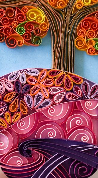 #quilling. Pink scenery art Print.