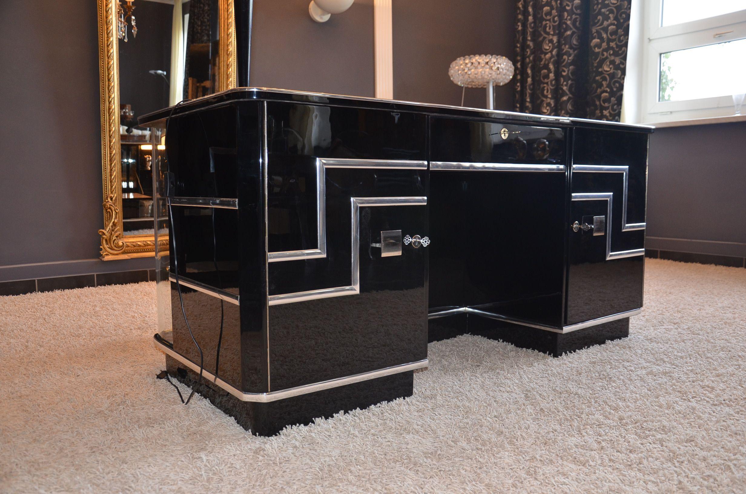 Art Deco Office Desk Change To Dark Wood No Glass Or