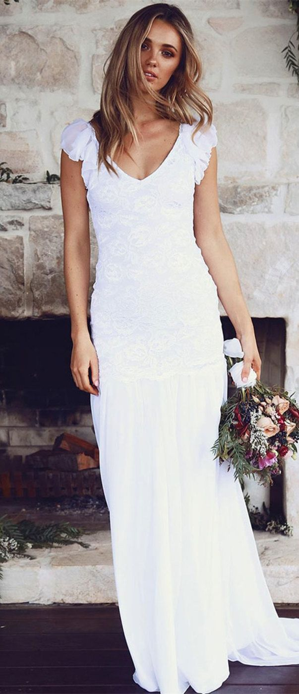 Sheath vneck backless sweep train white wedding dress with lace in