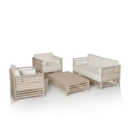 Outdoor Spar Set, lackiert, inkl. Sitz  und Rückenkissen, modern