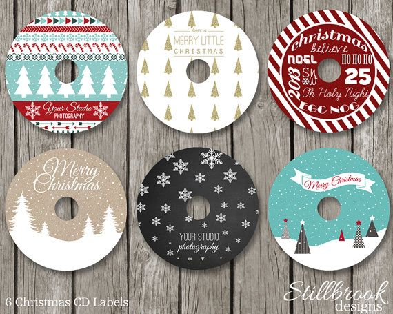 Christmas cd dvd label template set xmas holiday cd stickers for photographers clcs1
