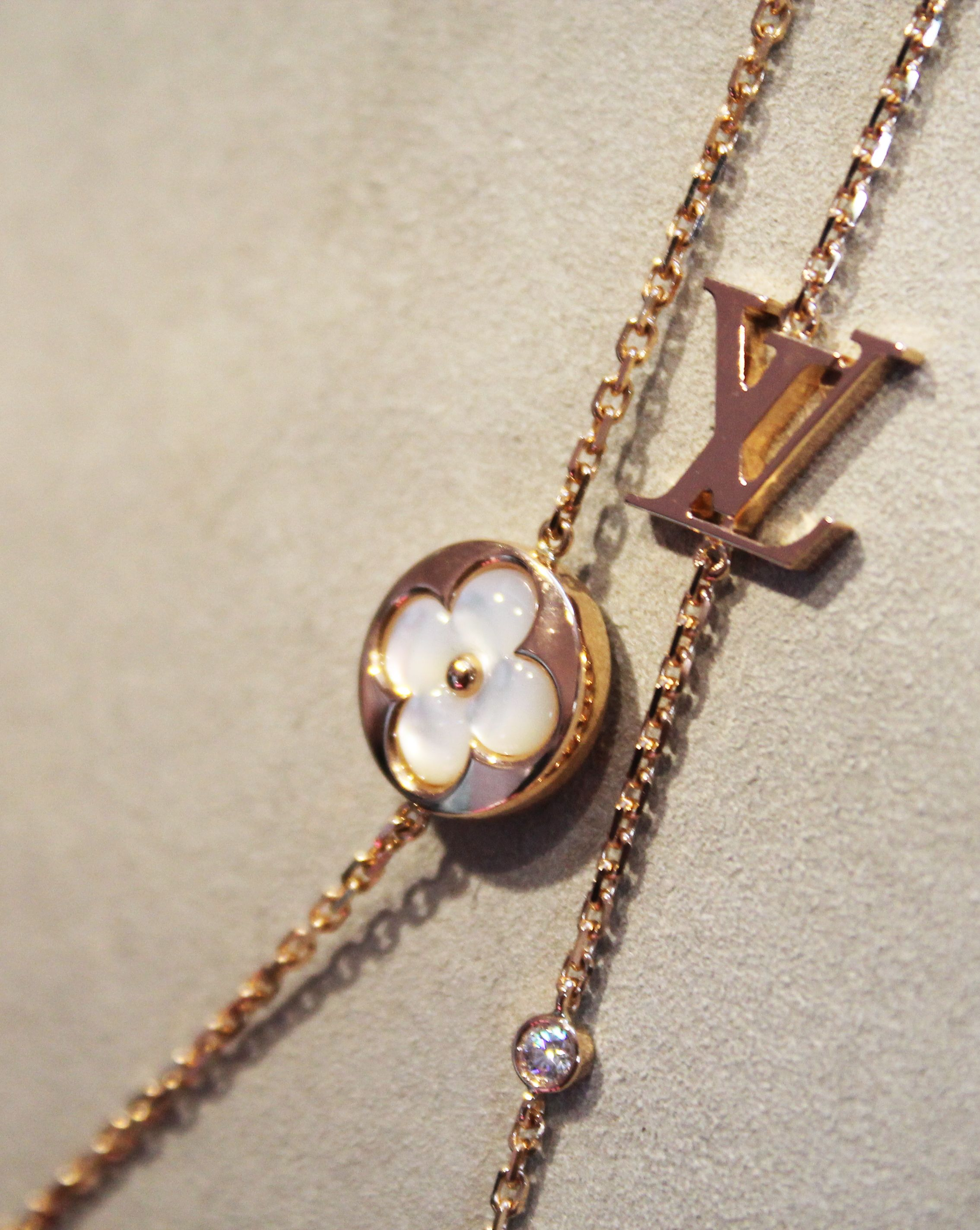 629f4e60b7d5 Louis Vuitton Blossom BB mother of pearl and rose gold long necklace.