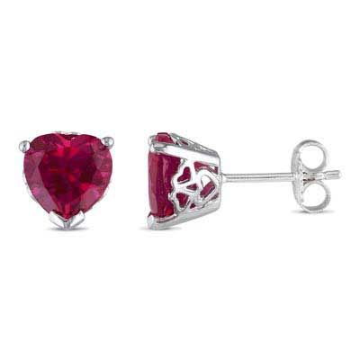 Zales 8.0mm Cushion-Cut Lab-Created Ruby Stud Earrings in Sterling Silver
