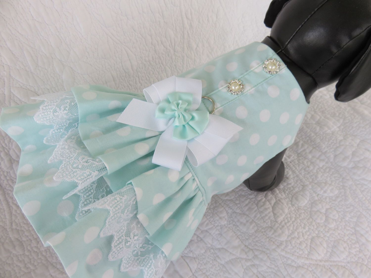 Wedding Dog Dress Mint Polka Dot Harness for Dog or Cat Outfit by ...