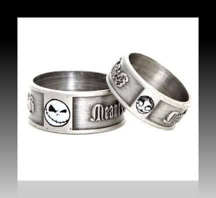 NIGHTMARE BEFORE Xmas Jack & Sally Engagement Ring Set w/Bead Shot ...