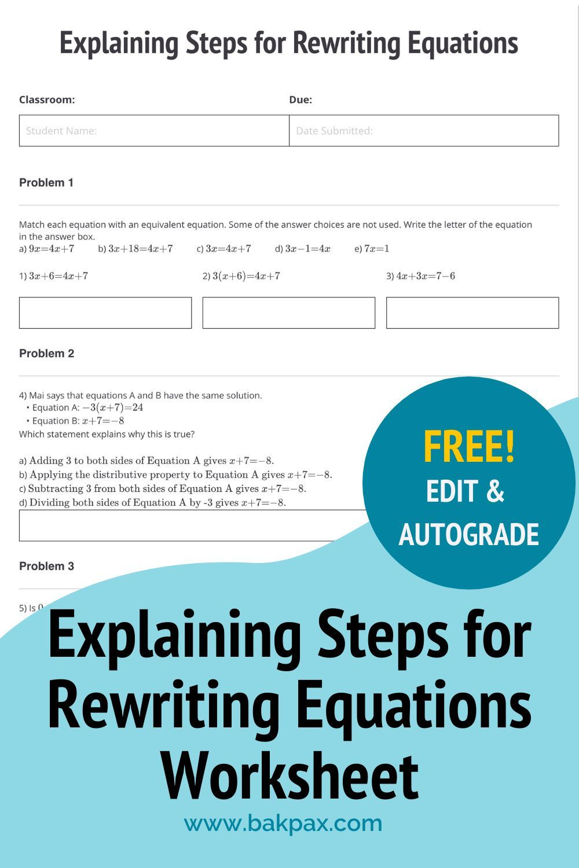 Free Explaining Steps For Rewriting Equations Algebra 1 Worksheet Geometry Worksheets Algebra Worksheets Free Algebra [ 1500 x 1000 Pixel ]