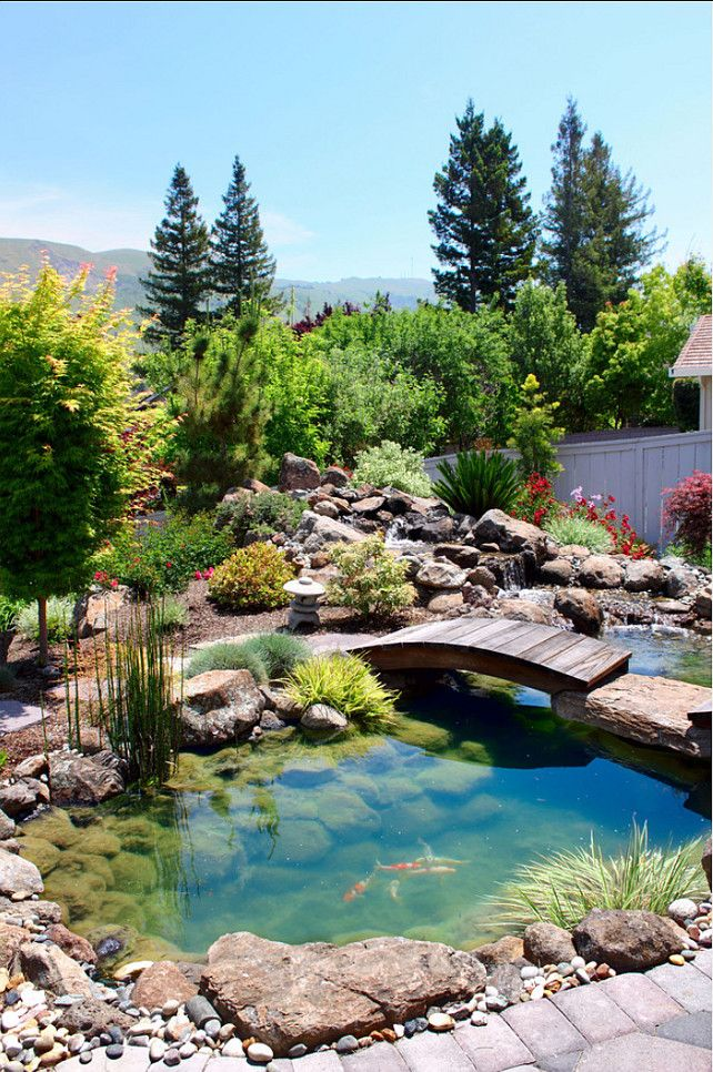 Awesome Backyard Pond Ideas To Enjoy The Nature : Wonderful Green Backyard  Pond Ideas With Beautiful Plant Decor And Wooden Bridge Above The Pond  Design