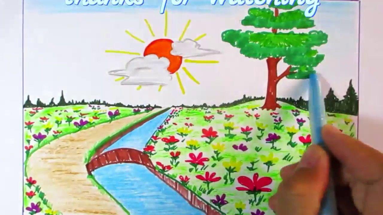 Learn To Scene Of Flower Garden Easy Step Scenery Drawing Channel