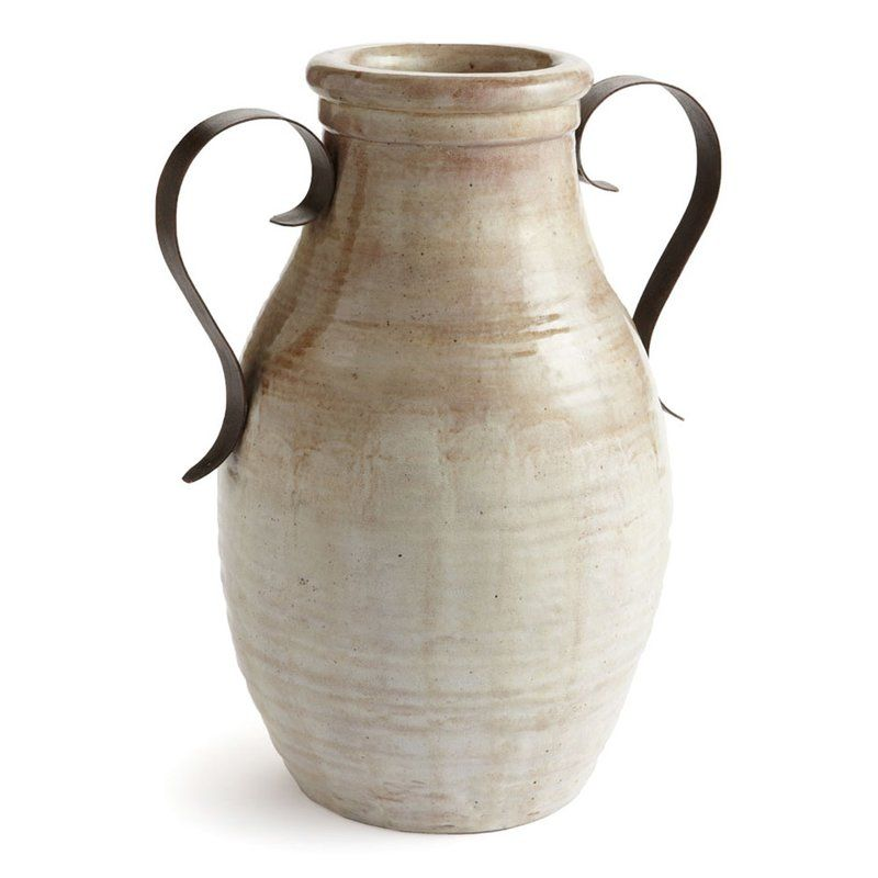 Lucy Beigebrown Urn Table Vase With Metal Handles Pottery