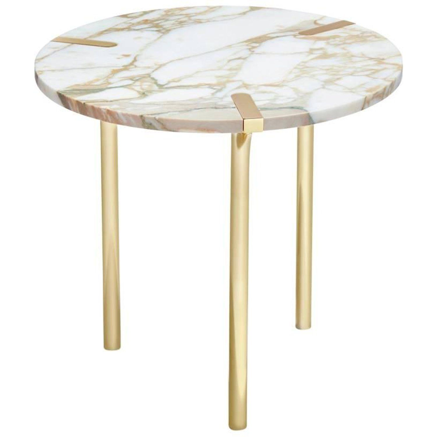 Sereno End Table In Calacatta Marble And Polished Gold By Anna New