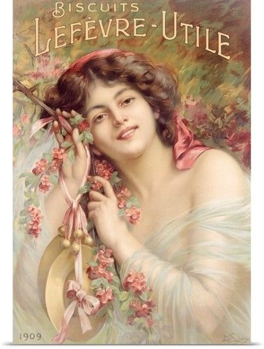 Counted Cross Stitch Pattern Chart Graph-Biscuits Lefevre-Utile Ad Poster Woman