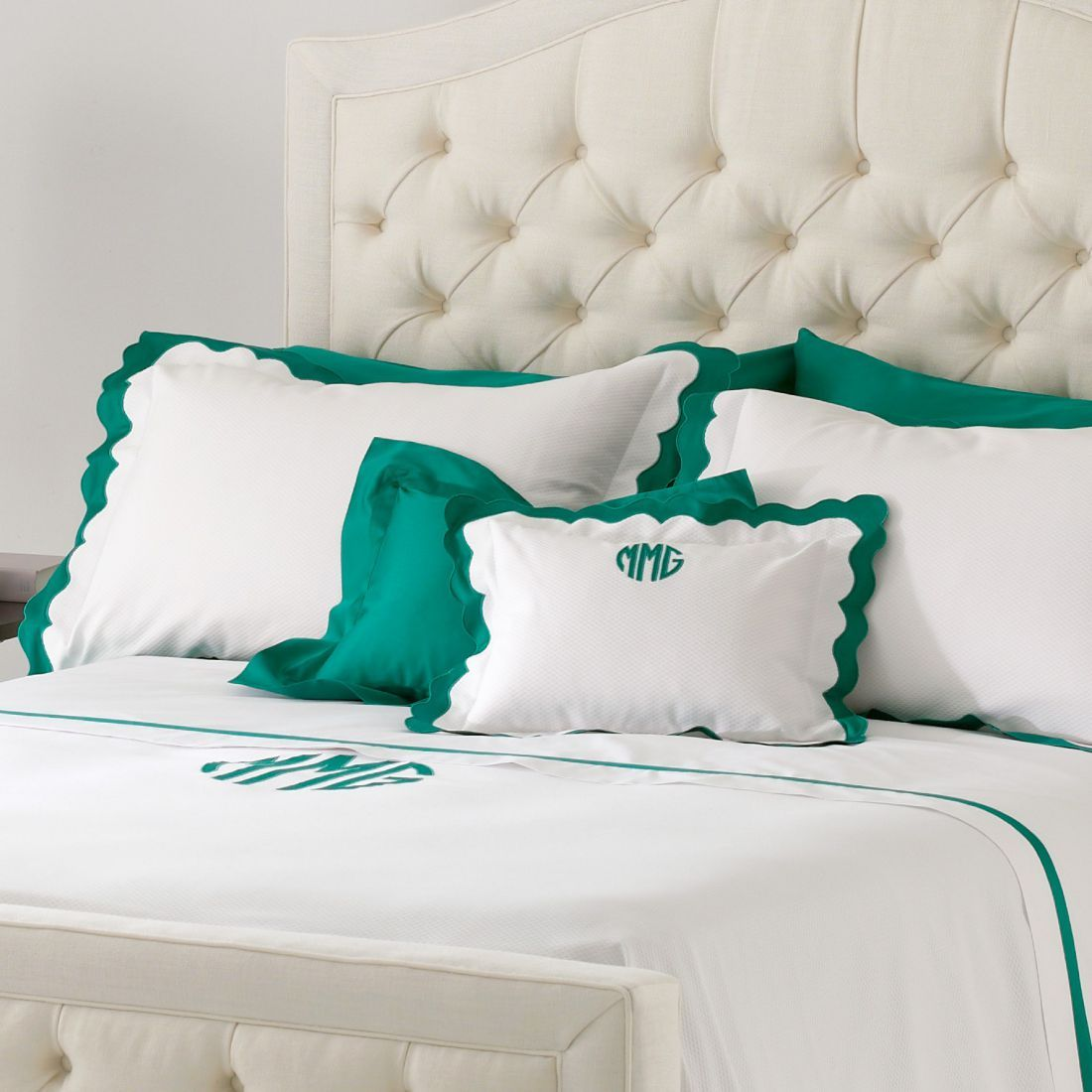 Scallop Trimmed White Coverlets U0026 Bedding   Matouk Paloma. Shown Here In  White U0026 Emerald