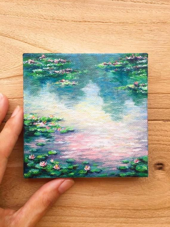 Photo of Water Lilies – Original Acrylic Painting. Small canvas impressionist painting. Natural garden flower Li …