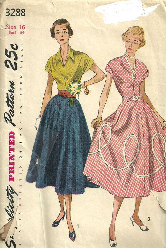 Simplicity 3288 Vintage 50s Sewing Pattern Size 16 Bust 34 Skirt And ...