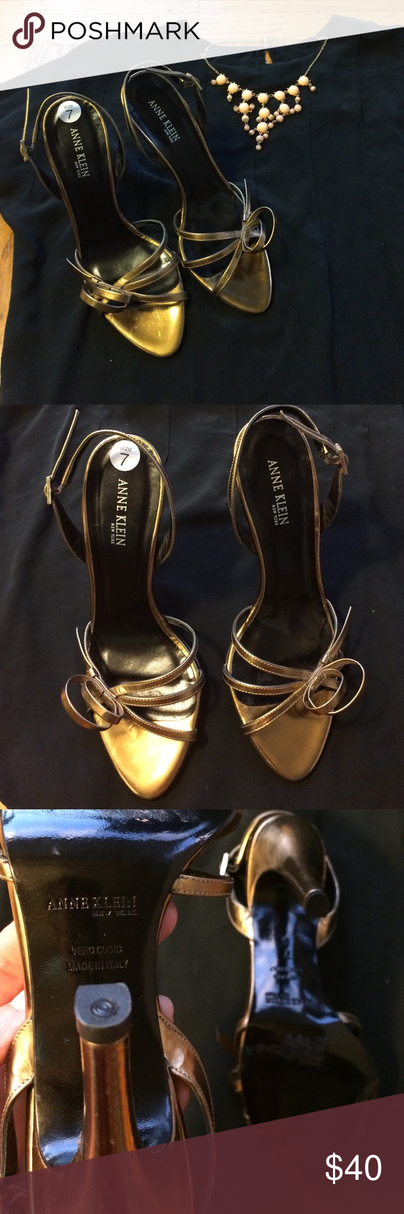 """New Anne Klein NY size 7 gold heels Excellent condition, no signs of wear. Size 7 Anne Klein stiletto gold metallic 4"""" heels with back strap. Made in Italy. Fun double circle/bow detail in front right side of heels. Great for weddings, as bridesmaid or guest, add this staple to your closet: 2 for 15% off Memorial Day weekend. Anne Klein Shoes Heels"""