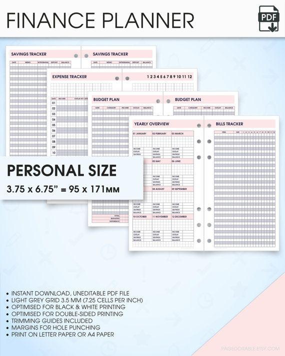 Finance Planner Filofax Personal Size Inserts Printable Budget Bill Track