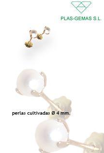 e8b5803dbacf Pendientes para bebé y niña de oro amarillo de 18 Kilates con una perla  cultivada natural