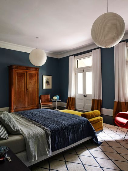 Like the mix of steel blue and mustard. Contemporary Bedroom by Interior Design Excellence Awards