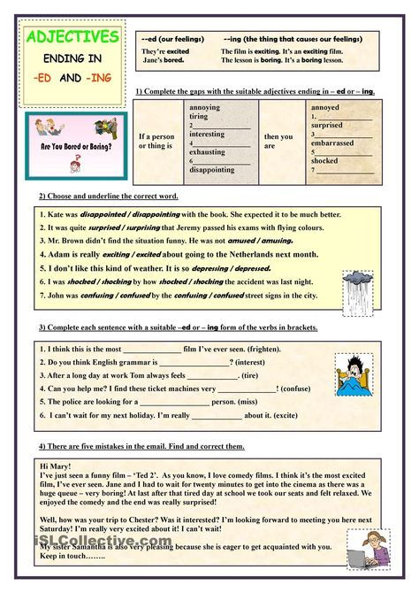 Adjectives Ending In Ed And Ing Exercises Clase De Ingles
