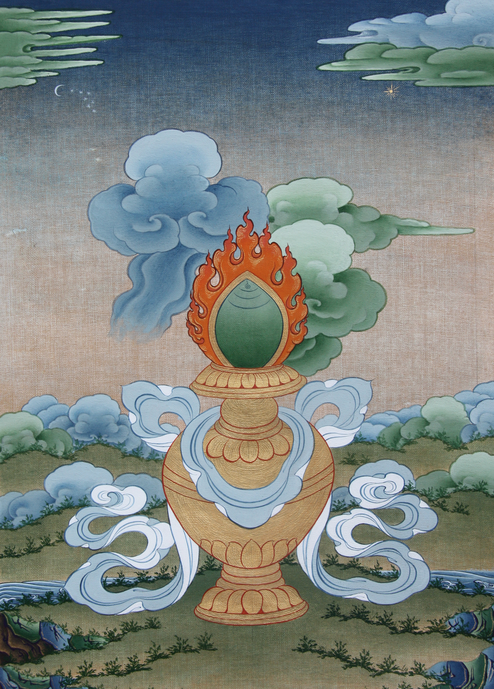 Treasure Vase by Tashi Dhargyal | Eight Auspicious Symbols