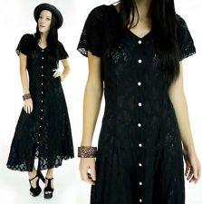 vtg 90s S Black Sheer LACE Grunge Gypsy Gauze Maxi FESTIVAL Dress Gothic Hippie