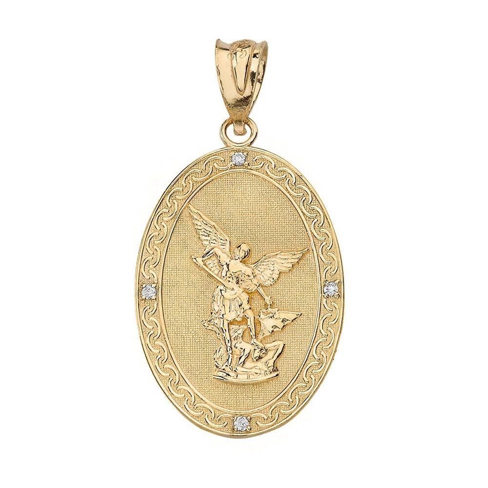Solid Yellow Gold Archangel Michael Oval Medallion Diamond Prayer