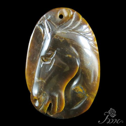 UNIQUE JEWELRY ACCESSORY PENDANT HAND CARVED HORSE TIGER'S EYE STONE H30432 #ZL…