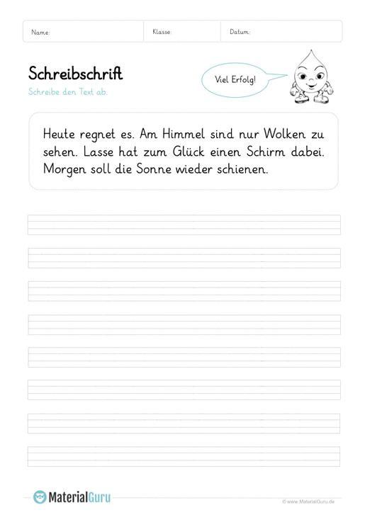 Ein kostenloses Arbeitsblatt zum Üben der Schreibschrift, auf dem ...