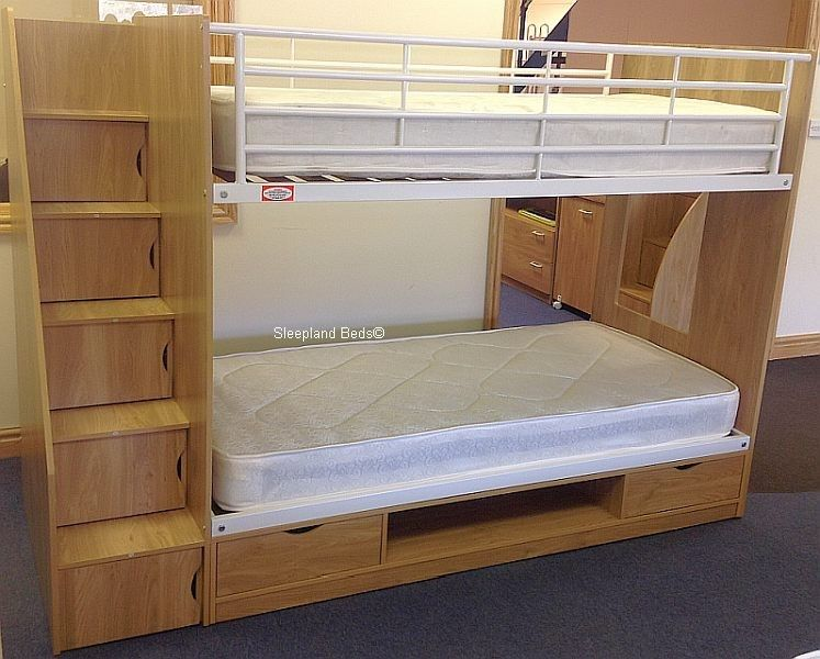 bedroom, kids bunk beds blue color with desk and stairs kids