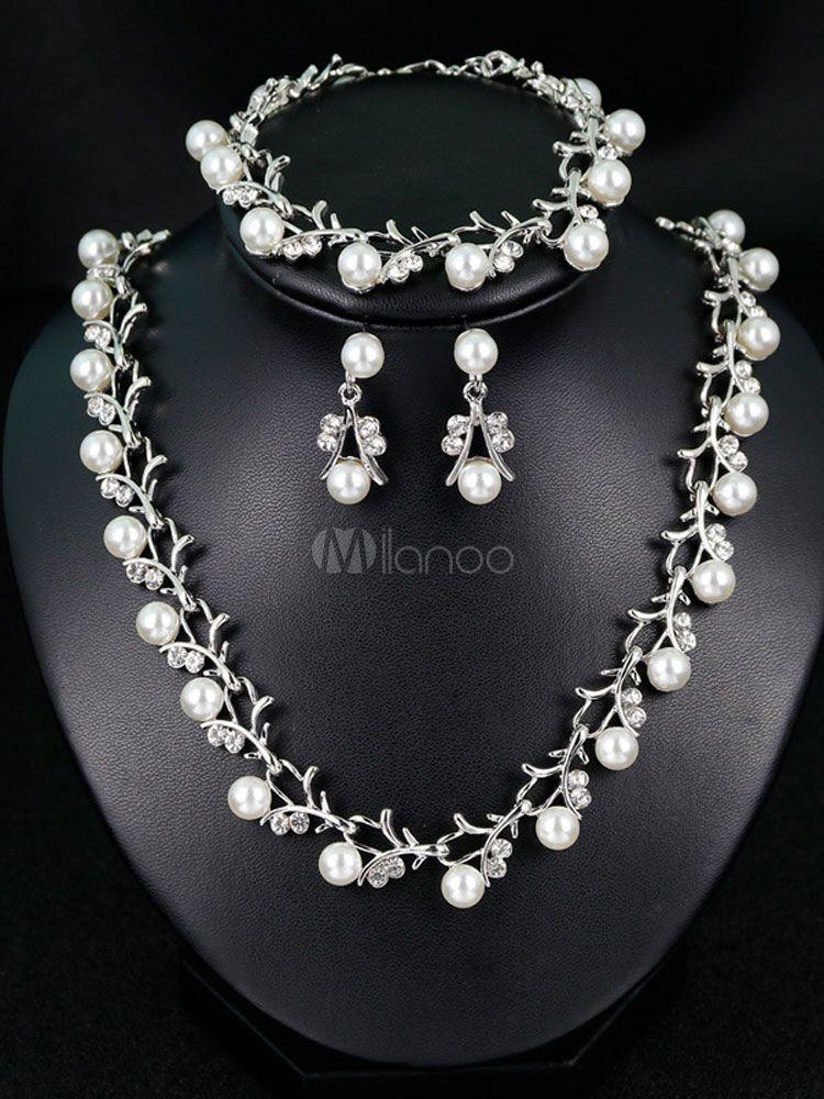 Pearls Wedding Jewelry Set Rhinestones Vintage Bridal Bracelet Earrings Necklace Set Wedding Jewelry Sets Pearl Jewelry Wedding Pearl Wedding Jewelry Sets