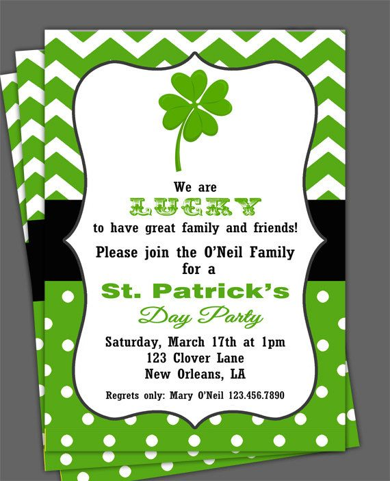 st patrick s day invitation printable or printed with free shipping